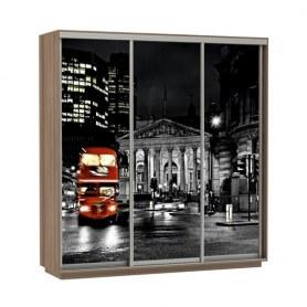 Шкаф-купе Трио фотопечать Ночной Лондон, 1800х600х2400, шимо темный