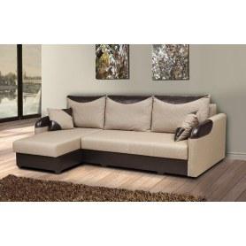 Угловой диван Чикаго, Рогожка бежевая/кож.зам. коричневый, с двумя декоративными подушками