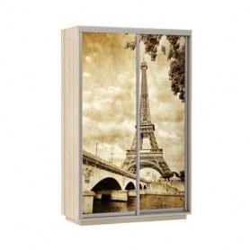 Шкаф-купе Дуо 1200x600x2200, фотопечать Париж, шимо светлый