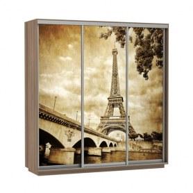 Шкаф-купе Трио фотопечать Париж, 2100х600х2200, шимо темный