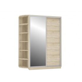 Шкаф-купе Медиум Дуо со стеллажом 1500х600х2200, с зеркалом, дуб сонома