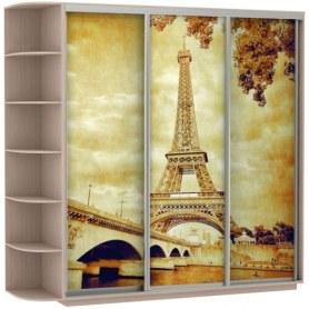 Шкаф-купе Трио, со стеллажом, фотопечать Париж, 2100х600х2400, дуб молочный