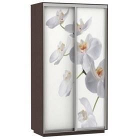 Шкаф-купе Дуо 1400x600x2200, фотопечать Белая Орхидея, венге