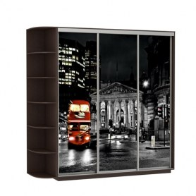 Шкаф-купе Трио, со стеллажом, фотопечать Ночной Лондон, 2700х600х2400, венге