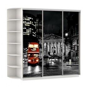 Шкаф-купе Трио, со стеллажом, фотопечать Ночной Лондон, 2700х600х2400, белый снег
