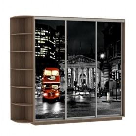 Шкаф-купе Трио, со стеллажом, фотопечать Ночной Лондон, 2400х600х2400, шимо темный