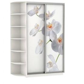Шкаф-купе Дуо 1900x600x2400, со стеллажом, фотопечать Белая орхидея, белый снег