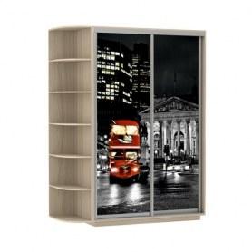 Шкаф-купе Дуо 1700x600x2400, со стеллажом, фотопечать Ночной Лондон, шимо светлый