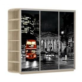 Шкаф-купе Трио, со стеллажом, фотопечать Ночной Лондон, 2100х600х2400, дуб сонома