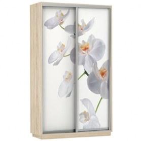 Шкаф-купе Дуо 1400x600x2400, фотопечать Белая Орхидея, дуб сонома