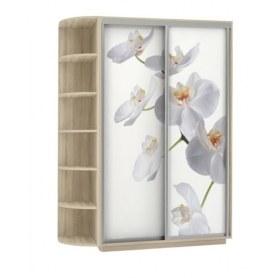 Шкаф-купе Дуо 1700x600x2400, со стеллажом, фотопечать Белая орхидея, дуб сонома