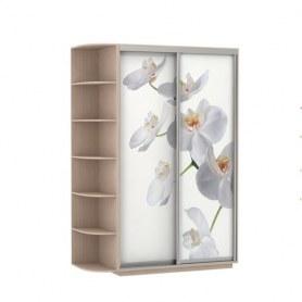Шкаф-купе Дуо 1900x600x2400, со стеллажом, фотопечать Белая орхидея, дуб молочный