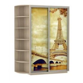 Шкаф-купе Дуо 1500x600x2200, со стеллажом, фотопечать Париж, шимо светлый