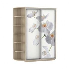 Шкаф-купе Дуо 1500x600x2400, со стеллажом, фотопечать Белая орхидея, шимо светлый
