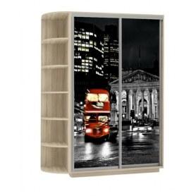 Шкаф-купе Дуо 1900x600x2200, со стеллажом, фотопечать Ночной Лондон, дуб сонома