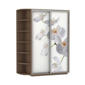 Шкаф-купе Дуо 1700x600x2400, со стеллажом, фотопечать Белая орхидея, шимо темный