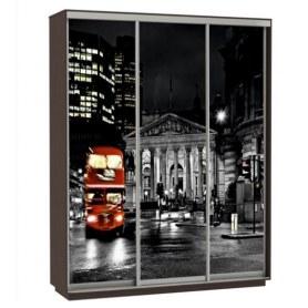Шкаф-купе Трио фотопечать Ночной Лондон, 2400х600х2400, венге