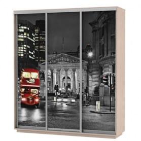 Шкаф-купе Трио фотопечать Ночной Лондон, 1800х600х2200, дуб молочный