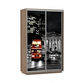 Шкаф-купе Дуо 1600x600x2400, фотопечать Ночной Лондон, шимо темный