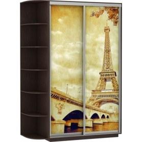 Шкаф-купе Хит, 1500x600x2200, фотопечать, со стеллажом, париж, венге