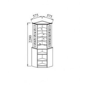 Шкаф-витрина В-2 угловой с зеркалами