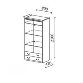 Шкаф Гармония-4, 2-х створчатый с ящиками, цвет Дуб беленый