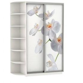 Шкаф-купе Хит, 1500x600x2200, фотопечать, со стеллажом, белая орхидея, белый снег