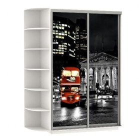 Шкаф-купе Хит, 1500x600x2200, фотопечать, со стеллажом, ночной лондон, белый снег