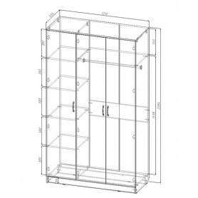 Шкаф трехдверный МВ6, Виола, ясень шимо светлый