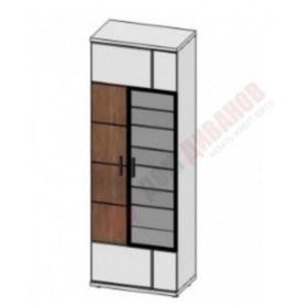 Шкаф витрина со стеклом левая Корано, Бм.Кор-01, белый экспо/ольха текстурная