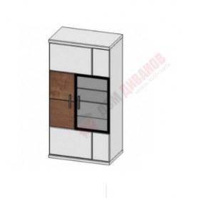 Шкаф навесной со стеклом Корано, левый, Бм.Кор-11, белый экспо/ольха текстурная