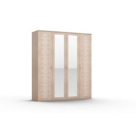 Шкаф четырехстворчатый Gloss, 2 зеркала, (G-ШО-04 2к/2зр, Выбеленный дуб)