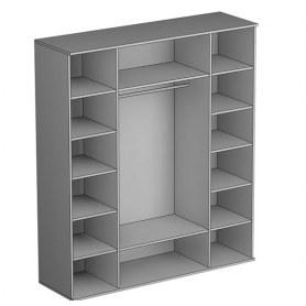 Шкаф четырехстворчатый Gloss, фасад кожзам, 2 зеркала, (G-ШО-04 2к/2зр, Венге)