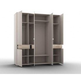 Шкаф четырехстворчатый фасады 2 двери 2 зеркало, Portland (Р-ШО-04, 2г/2зр), аттик/черный графит