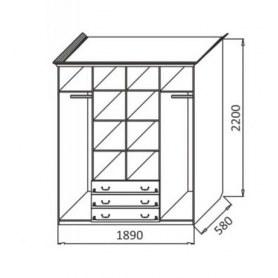 Шкаф Ивушка-5 4-х створчатый с ящиками, цвет Дуб беленый