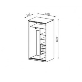 Шкаф-купе ШК3 2-х створчатый с ящиками