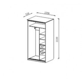 Шкаф-купе ШК2 2-х створчатый с ящиками