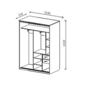 Шкаф-купе ШК5 2-х створчатый с ящиками