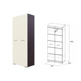 Шкаф двухстворчатый МС-1, венге/жемчуг