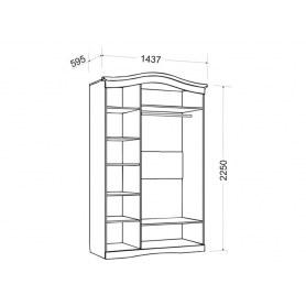Шкаф трехдверный Гертруда, М2, белая лиственница