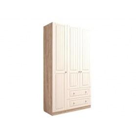 Шкаф трехдверный М8, Богуслава, дуб баррик светлый/крем брюле