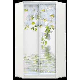 Шкаф-купе угловой, 2300х1103, ХИТ У-23-4-77-05, фотопечать Белая орхидея, белая