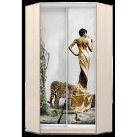 Шкаф-купе угловой, 2300х1103, ХИТ У-23-4-77-03, фотопечать Девушка с леопардом, дуб млечный