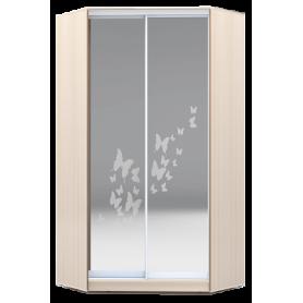 Шкаф-купе угловой, 2300х1103, ХИТ У-23-4-66-05, рисунок бабочки, 2 зеркала, дуб млечный