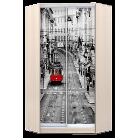 Шкаф-купе угловой, 2300х1103, ХИТ У-23-4-77-01, фотопечать Лондон трамвай, дуб млечный