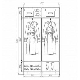 Шкаф-купе 2-х дверный  Хит-22-4-12/2-77-30, 2200х1200х420, фотопечать