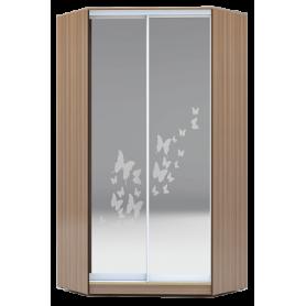 Шкаф-купе угловой, 2400х1103, ХИТ У-24-4-66-05, рисунок бабочки, 2 зеркалами, шимо темный