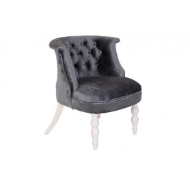 Кресло Бархат (серый бархат/белая эмаль)