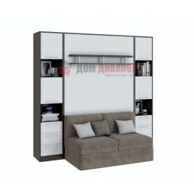 Кровать-шкаф с диваном Бела 1,  с полкой ножкой, 1200х2000, венге/белый