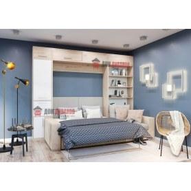 Кровать-шкаф с диваном Бана, 1600х2000 (Белоснежный офис Ламарти/Фламинго Ламарти)